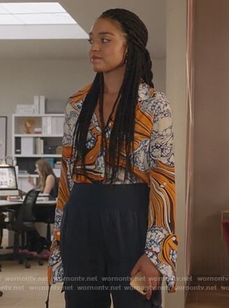 Kat's printed shirt on The Bold Type