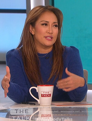 Carrie's blue puff shoulder sweater on The Talk