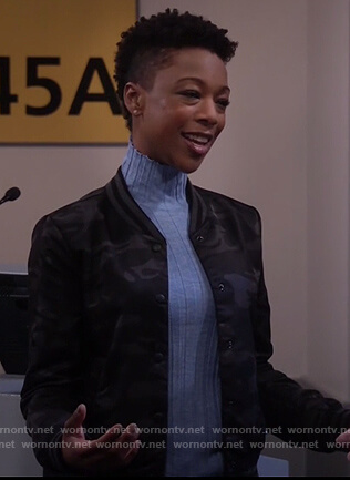 Nikki's blue sweater and camo bomber jacket on Will and grace