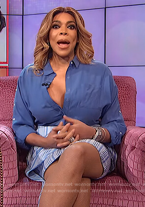 Wendy's blue striped asymmetric skirt on The Wendy Williams Show