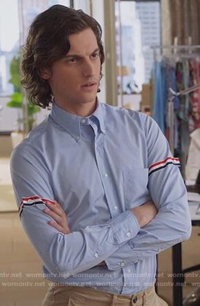 Patrick's blue stripe sleeve shirt on The Bold Type