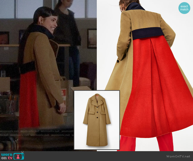 Boden Farleigh Coat worn by Ava Jalali (Sofia Carson) on PLL The Perfectionists