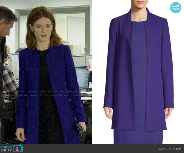 BOSS Celasa Coat worn by Maia Rindell (Rose Leslie) on The Good Fight
