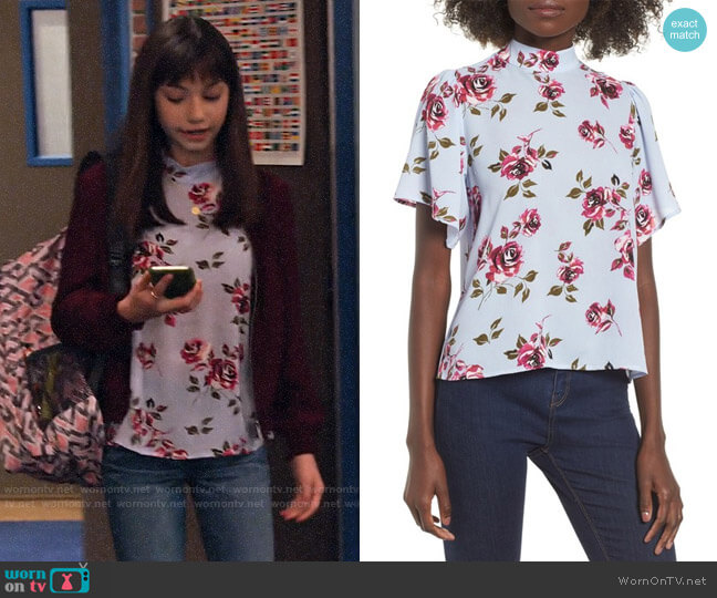 BP. Floral Print Mock Neck Blouse worn by Molly (Lauren Lindsey Donzis) on No Good Nick