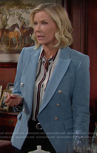 Brooke's striped blouse and blue blazer on The Bold and the Beautiful