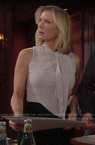 Brooke's draped front jumpsuit on The Bold and the Beautiful