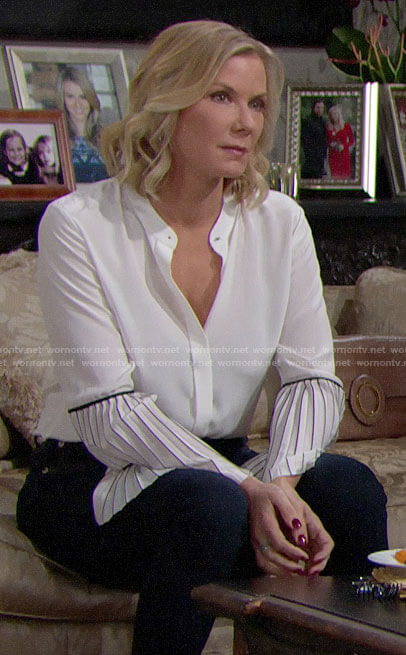 Brooke's white pleated sleeve blouse on The Bold and the Beautiful