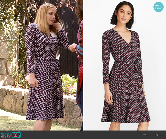 Brooks Brothers Lattice-Print Jersey Faux-Wrap Dress worn by Amy Brookheimer (Anna Chlumsky) on Veep