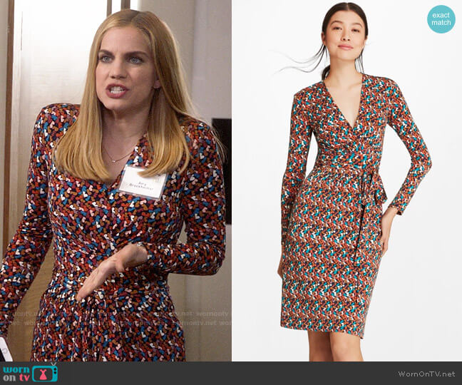 Brooks Brothers B Print Jersey Faux Wrap Dress worn by Amy Brookheimer (Anna Chlumsky) on Veep