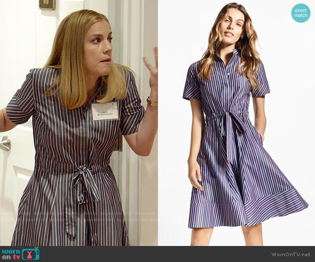 Brooks Brothers Striped Cotton Poplin Shirt Dress worn by Amy Brookheimer (Anna Chlumsky) on Veep