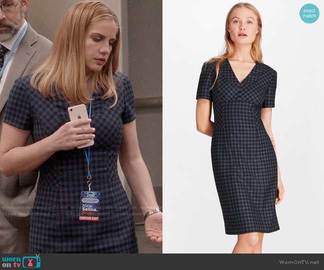 Brooks Brothers Gingham Wool Twill Sheath Dress worn by Amy Brookheimer (Anna Chlumsky) on Veep