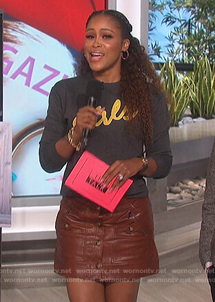 Eve's brown leather mini skirt on The Talk