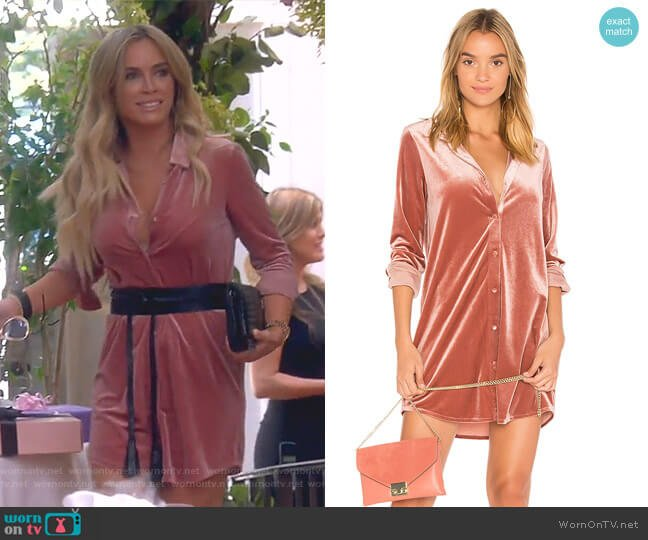 Vella Velvet Mini Dress by By the Way worn by Teddi Mellencamp Arroyave  on The Real Housewives of Beverly Hills