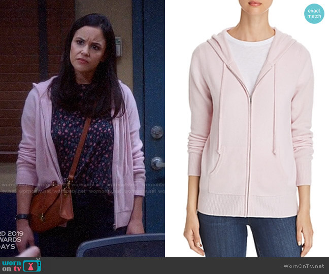 C by Bloomingdales Cashmere Hoodie worn by Amy Santiago (Melissa Fumero) on Brooklyn Nine-Nine