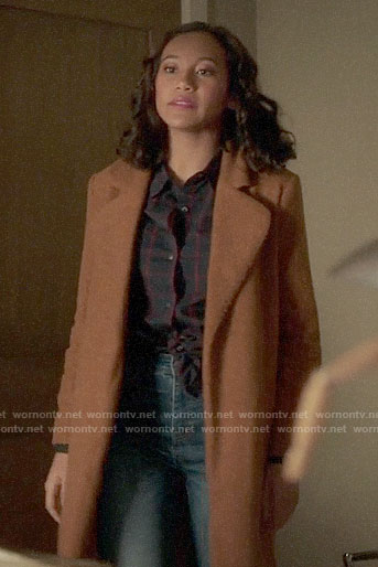 Caitlin's tan teddy coat on Pretty Little Liars The Perfectionists