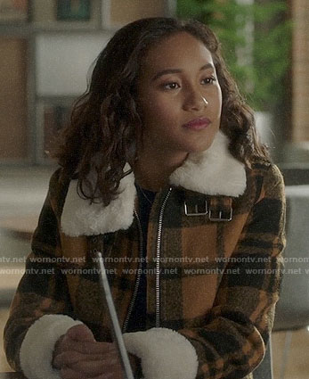 Caitlin's yellow plaid fleece trim jacket on Pretty Little Liars The Perfectionists