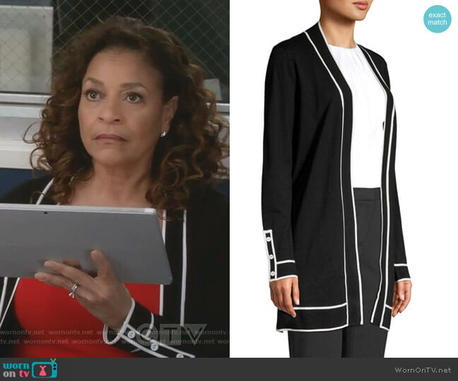 Contrasting Piped Cardigan by Calvin Klein worn by Catherine Avery (Debbie Allen) on Greys Anatomy
