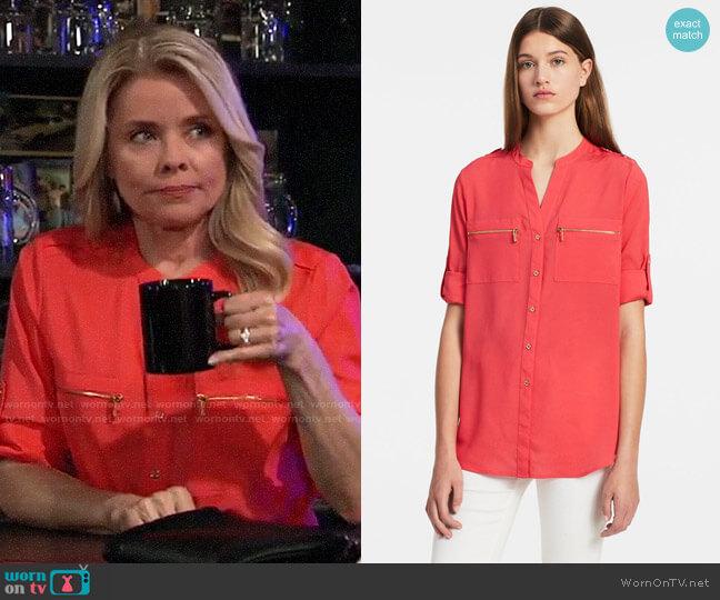 Calvin Klein Mandarin Collar Roll-up Sleeve Blouse in Watermelon worn by Felicia Scorpio (Kristina Wagner) on General Hospital