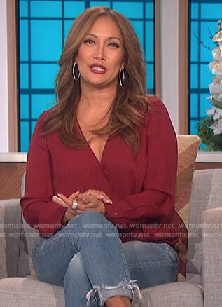 Carrie's red wrap blouse on The Talk