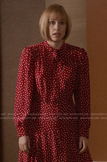 Catherine's red heart print dress on Veep