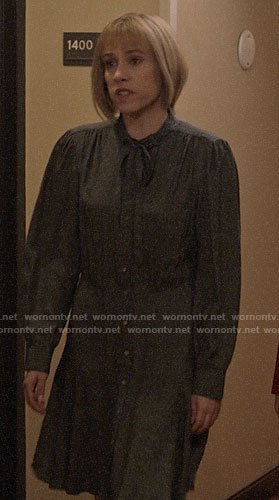Catherine's long sleeve tie neck dress on Veep