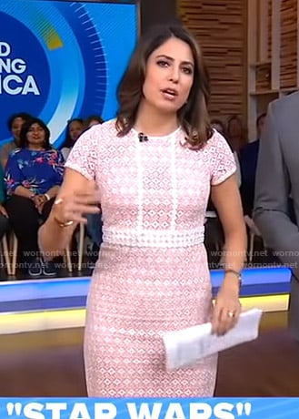 Cecilia's pink lace dress on Good Morning America