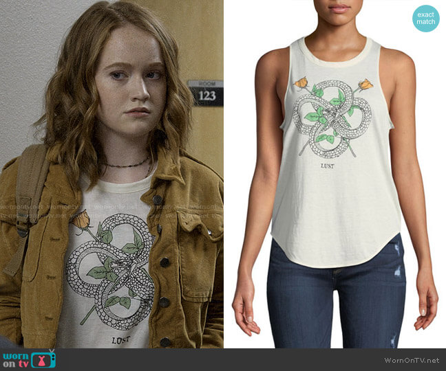 Chaser Snakes & Roses Lust Graphic Tank worn by Abby Hammond (Liv Hewson) on Santa Clarita Diet