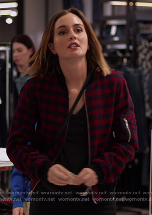 Angie's red check bomber jacket on Single Parents