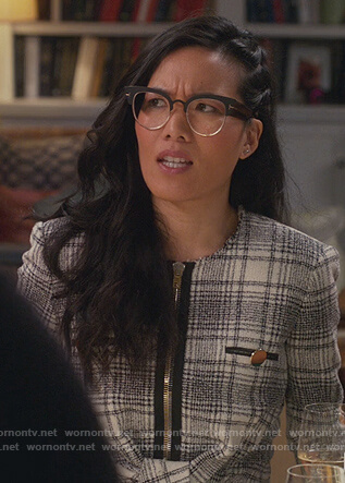 Doris's gray plaid jacket on American Housewife