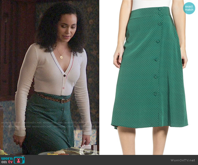 Chelsea28 Print Midi Skirt worn by Macy Vaughn (Madeleine Mantock) on Charmed