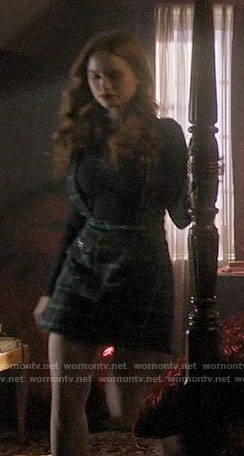 Cheryl's green plaid overall skirt on Riverdale