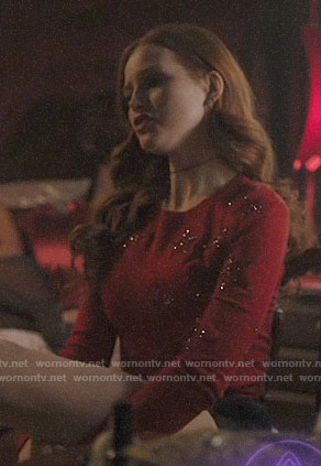 Cheryl's red star embellished sweater on Riverdale