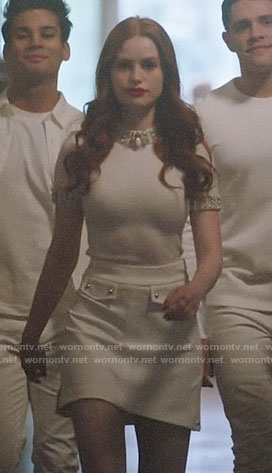 Cheryl's white pearl embellished top on Riverdale
