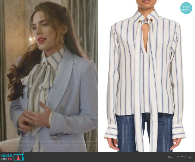Tie-Neck Long-Sleeve Striped Silk Blouse by Chloe worn by Cristal Jennings (Daniella Alonso) on Dynasty