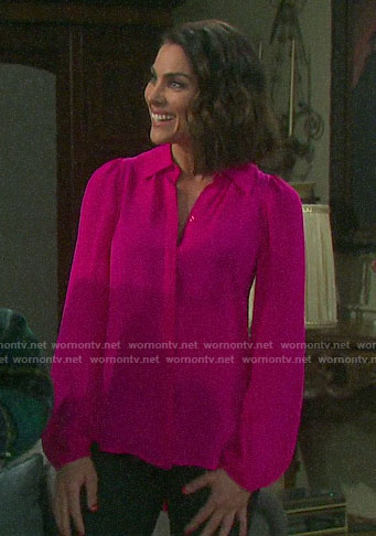 Chloe's pink button down blouse on Days of our Lives