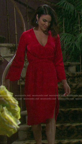 Chloe's red v-neck dress on Days of our Lives