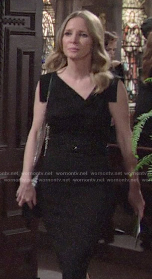 Christine's black asymmetric neck dress on The Young and the Restless