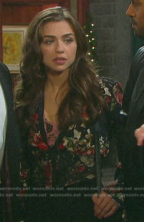 Ciara's floral plunging neck top on Days of our Lives