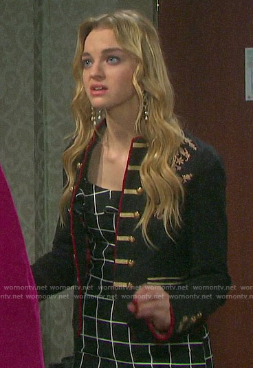 Claire's black checked dress and embroidered jacket on Days of our Lives