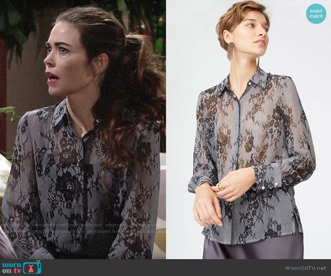 Club Monaco Margee Silk Shirt worn by Victoria Newman (Amelia Heinle) on The Young & the Restless