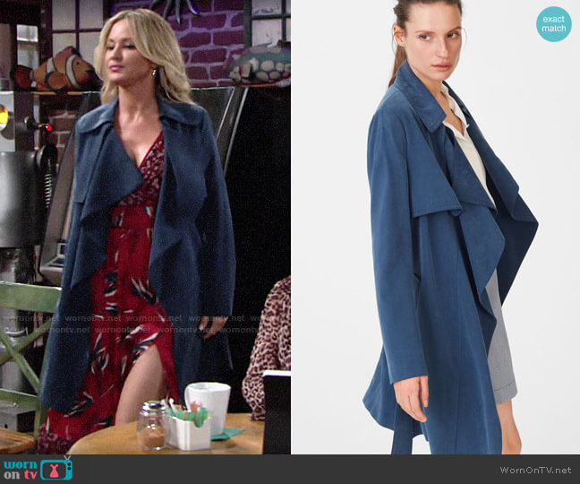 Club Monaco Claudine Trench worn by Sharon Collins (Sharon Case) on The Young & the Restless