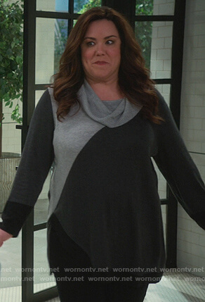 Katie's gray cowl neck sweater on American Housewife