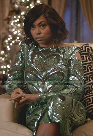 Cookie's sequin mesh inset gown on Empire
