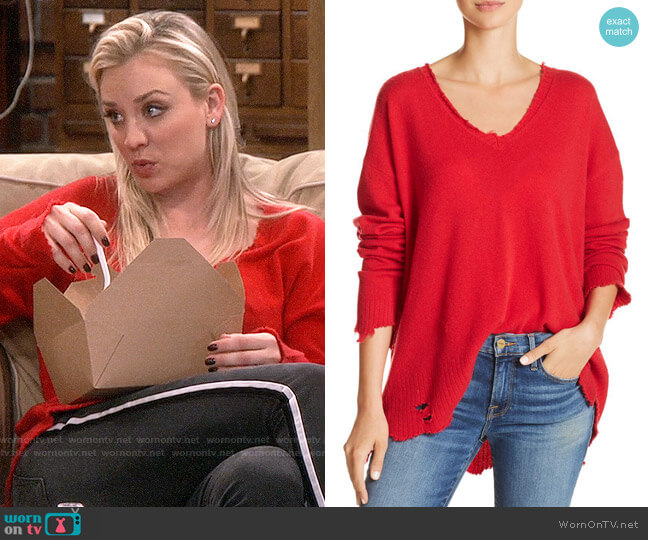 Current/Elliott The Destroyed Drop-Shoulder Sweater worn by Penny Hofstadter (Kaley Cuoco) on The Big Bang Theory