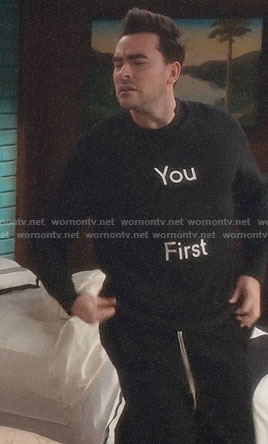 David's YOU FIRST sweater on Schitts Creek