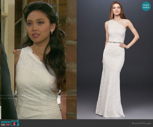 Davids Bridal Scalloped One-Shoulder Lace Sheath Gown worn by Haley Chen (Thia Megia) on Days of our Lives