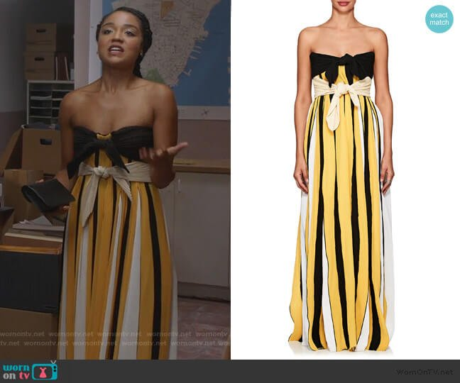 Accordion-Pleated Crepe Strapless Gown by Derek Lam worn by Kat Edison (Aisha Dee) on The Bold Type