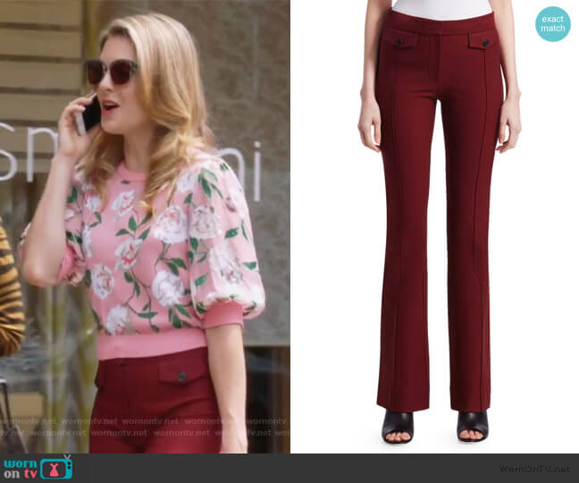 Stitched Flare Trousers by Derek Lam 10 Crosby worn by Sutton (Meghann Fahy) on The Bold Type