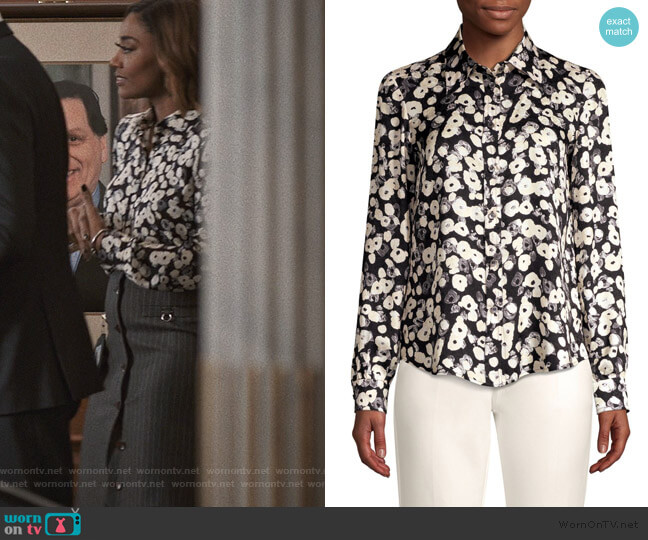 Long-Sleeve Button-Down Poppy Print Silk Blouse by Derek Lam worn by Daisy Grant (Patina Miller) on Madam Secretary