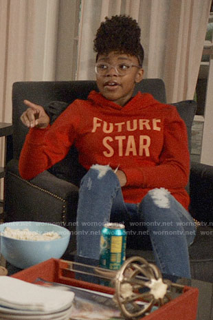 Diane's red FUTURE STAR hoodie on Black-ish